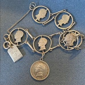 Antique Spanish Silver Coin Bracelet